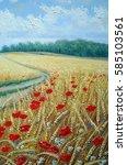 Wheat Field Poppies  Oil...