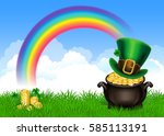 st.patrick's day symbols pot of ... | Shutterstock . vector #585113191
