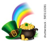 st.patrick's day symbols pot of ... | Shutterstock . vector #585113281