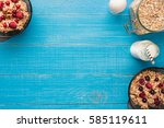 breakfast with oatmeal and... | Shutterstock . vector #585119611