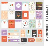 cute cards  notes and stickers... | Shutterstock .eps vector #585126154