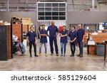 portrait of engineers and... | Shutterstock . vector #585129604