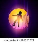 retro 1980's gitch distortion... | Shutterstock .eps vector #585131671