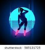retro 1980's glowing neon... | Shutterstock .eps vector #585131725