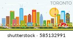toronto skyline with color... | Shutterstock .eps vector #585132991