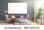 mock up poster frame in... | Shutterstock . vector #585144115