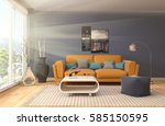 interior with sofa. 3d... | Shutterstock . vector #585150595