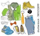 vector illustration set of hand ... | Shutterstock .eps vector #585152899