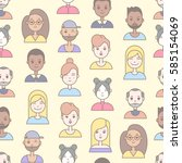 linear flat people faces vector ... | Shutterstock .eps vector #585154069
