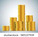 stacks of gold coins vector... | Shutterstock .eps vector #585157939
