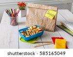 healthy school lunch for child... | Shutterstock . vector #585165049