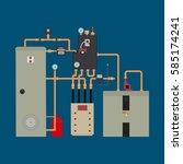 equipment of the heat pump.... | Shutterstock .eps vector #585174241