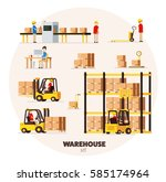 warehouse logistic background... | Shutterstock .eps vector #585174964