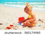 cute little girl play with sand ... | Shutterstock . vector #585174985