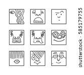 people face cartoon vector... | Shutterstock .eps vector #585179755