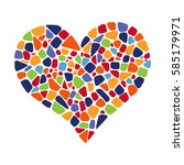 colorful mosaic heart on white... | Shutterstock .eps vector #585179971