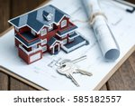 villa house model  key and... | Shutterstock . vector #585182557