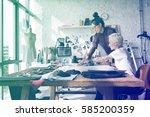 fashion designer brainstorming... | Shutterstock . vector #585200359
