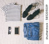 flat lay of a trendy woman... | Shutterstock . vector #585205039