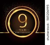 nine years birthday celebration ...   Shutterstock .eps vector #585206995