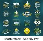 mardi gras typography set.... | Shutterstock .eps vector #585207199