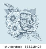 vector flowers. rose and... | Shutterstock .eps vector #585218429