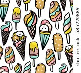 vector ice cream texture.... | Shutterstock .eps vector #585220889