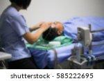 blurred image of nurse take eeg ... | Shutterstock . vector #585222695