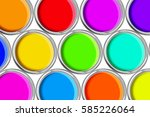 open tin cans with paint ... | Shutterstock . vector #585226064