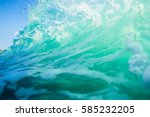 Blue Wave In Ocean. Clear Wave...