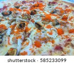 seafood topping pizza in... | Shutterstock . vector #585233099