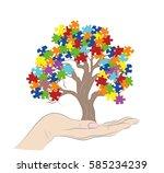 puzzle pieces in autism... | Shutterstock .eps vector #585234239