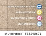 Small photo of Direction signs for: parlamentarium, accreditation centre, station europe, grup & hemicycle visit. Brussels 2017