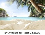 background of sand on beach and ... | Shutterstock . vector #585253607