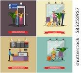 vector set of airport concept... | Shutterstock .eps vector #585253937