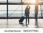 saying goodbye at the airport.... | Shutterstock . vector #585257981