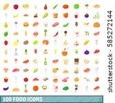 100 food icons set in cartoon... | Shutterstock .eps vector #585272144