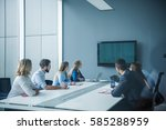 colleagues working together in... | Shutterstock . vector #585288959