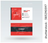 double sided red business card... | Shutterstock .eps vector #585290597