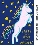 rampant unicorn cartoon vector...   Shutterstock .eps vector #585294605
