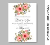 floral wedding invitation | Shutterstock .eps vector #585299327