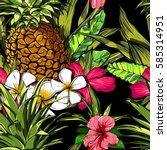 tropical flowers  jungle leaves ...   Shutterstock .eps vector #585314951