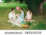 happy friends in the park... | Shutterstock . vector #585319259