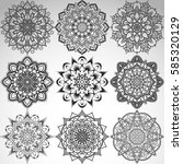 set of mandalas for coloring... | Shutterstock .eps vector #585320129