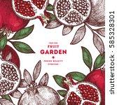 pomegranate fruit vintage... | Shutterstock .eps vector #585328301