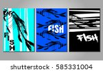 set of posters with fish... | Shutterstock .eps vector #585331004