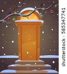 retro door  branches decorated... | Shutterstock .eps vector #585347741