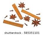 cloves  anise and cinnamon...   Shutterstock . vector #585351101