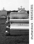 Small photo of Above-ground burial vaults in a graveyard in Lafitte, Louisiana