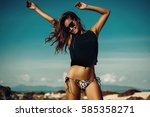 beautiful party girl dancing... | Shutterstock . vector #585358271